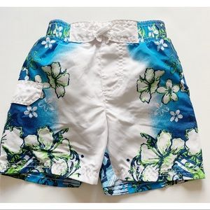 Boys- Blue and white floral swim trunks